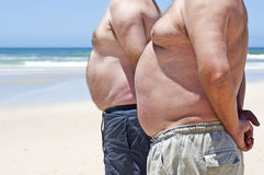 Two fat men on the beach