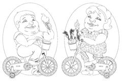 Two fat people on bicycles, black and white image Royalty Free Stock Photography