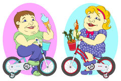 Two fat people on bicycles Royalty Free Stock Images