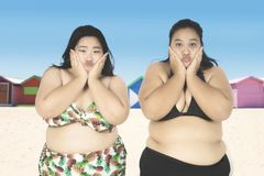 Fat woman looks bored near the cottage. Two fat women wearing swimwear while looking at the camera with bored expression near the cottage Royalty Free Stock Photo