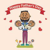 Two fathers with children in their arms. Element cards for Father Day. Vector illustration Royalty Free Stock Photo