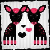 Two fawns in love. Romantic illustration royalty free illustration