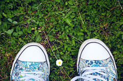 Two feet in canvas shoes standing on the grass, a camomile flowe Royalty Free Stock Photo