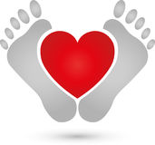 Two feet and heart, pedicure and foot care logo. Two feet and heart, colored, pedicure and foot care logo Stock Image