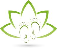 Two feet and leaves, wellness and foot care logo Royalty Free Stock Images