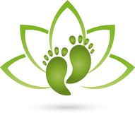 Two feet and leaves, wellness and foot care logo Royalty Free Stock Photos