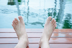 Two feet relaxing Stock Photography