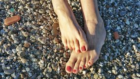 Two feet in sunny beach Stock Photography