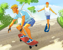 Two fellows on skateboards. On the summer road Royalty Free Stock Photos