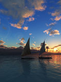 Two Fellucas Sailing stock image