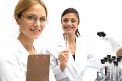 Two Femal Scientists Working Together Stock Photo