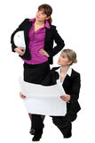 Two female architects. Wroking together Royalty Free Stock Photography