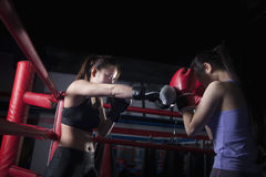 Two female boxers boxing in the boxing ring in Beijing, China royalty free stock photo