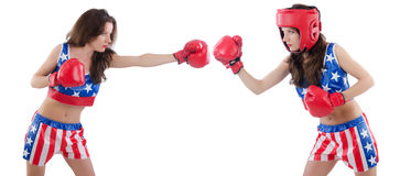 The two female boxers fighting isolated on white Stock Photography