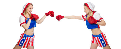 The two female boxers fighting isolated on white Royalty Free Stock Images