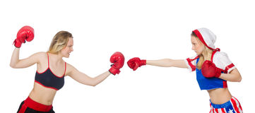 The two female boxers fighting isolated on white Royalty Free Stock Image