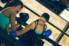 Two Female Boxers At Training Royalty Free Stock Image