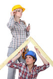 Two female carpenters Stock Photo
