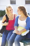Two Female College Students Outside Campus Building Stock Images