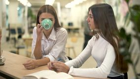 Two female collegues in modern hub drink cappuccino and discuss strategy and working day on their break. Two woman which work together in modern hub drink stock footage