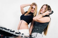 Two female DJs at the turntables Stock Image