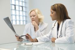 Two female doctors. Sitting in an office, analyzing an X-ray photo royalty free stock images