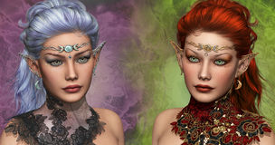 Two female Elven. Double portrait of two female elven with circlets and ear jewelrys Stock Photo