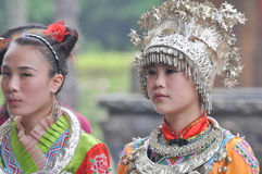 Two female folk singers. Two beautiful female folk singers were singing in national song and dance performances which in Yangshuo of guangxi zhuang autonomous Royalty Free Stock Photos