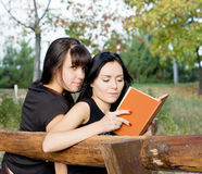 Two female friends on a bench Stock Photo
