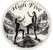 Two female friends celebrating high five stock illustration