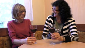 Two female friends drinking wine. Two middle age women friends sitting indoor by the table enjoying glass of wine, talking and laughing stock video footage