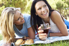 Two Female Friends Enjoying Picnic Together Royalty Free Stock Photos