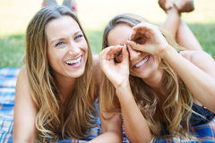 Two Female Friends. Enjoying Picnic Together in Nature Stock Photos