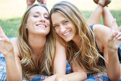 Two Female Friends. Enjoying Picnic Together in Nature Royalty Free Stock Photo