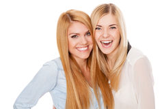 Two female friends having fun Stock Images