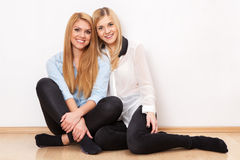 Two female friends having fun Royalty Free Stock Photo