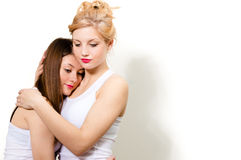 Two female friends hug of comort Royalty Free Stock Image