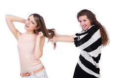 Two female friends isolated Royalty Free Stock Images