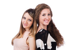 Two female friends isolated Stock Photography