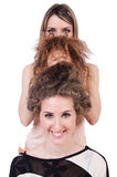 Two female friends isolated Royalty Free Stock Photography