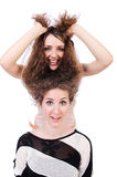 Two female friends isolated Royalty Free Stock Photo