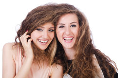 Two female friends isolated Stock Photos