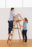 Two female friends with a ladder in a new house Royalty Free Stock Photo