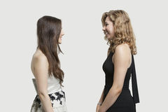 Two female friends looking at each other and smiling over gray background Stock Image