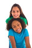 Two female friends in a row Royalty Free Stock Image