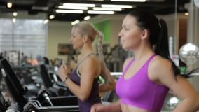 Two female friends are running on treadmills in the modern gym and talking to aech other. Brunette lady is wearing purple sportswear for training and blond stock footage