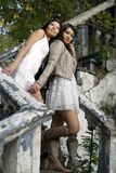 Two female friends standing on stairs Stock Images