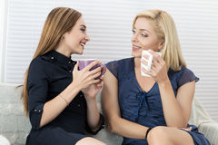 Two female friends talking and laughing together Royalty Free Stock Photo