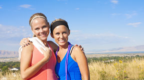 Two female friends after their workout Stock Images