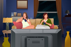Two Female Friends Watching TV and Eating Ice Cream vector illustration